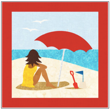 Digital Download: The Girl with the Red Umbrella Monthly Wall Hanging - August - DRH-UAUG