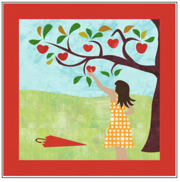 Digital Download: The Girl with the Red Umbrella Monthly Wall Hanging - September - DRH-USEP