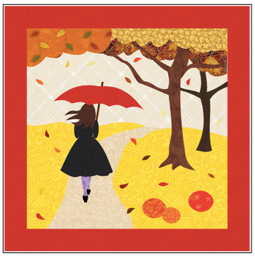Digital Download: The Girl with the Red Umbrella Monthly Wall Hanging - October - DRH-UOCT