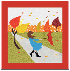 Digital Download: The Girl with the Red Umbrella Monthly Wall Hanging - November - DRH-UNOV
