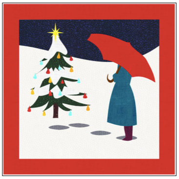 Digital Download: The Girl with the Red Umbrella Monthly Wall Hanging - December - DRH-UDEC