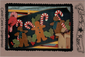 Candy Canes and Gingerbread Wool Applique Pattern - LR-CCG
