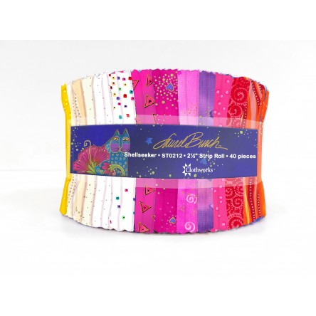 "Shellseekers Quilt Fabric by Laurel Burch - Strip Roll - 40 2 1/2"" strips - ST0212"