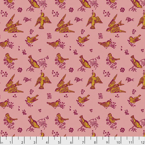 Souvenir Quilt Fabric - Birds and Love in Cheeky Pink - PWNL005.CHEEKY