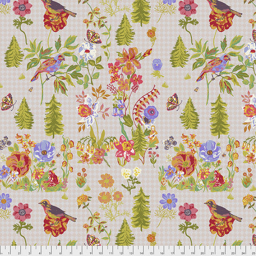 Souvenir Quilt Fabric - On My Way in Flour (Florals on Pink Gingham) - PWNL001.FLOUR
