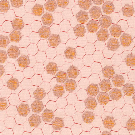Spring Shimmer Quilt Fabric - Honeycomb Hexagons in Blush Pink - AJSP-19704-96 BLUSH