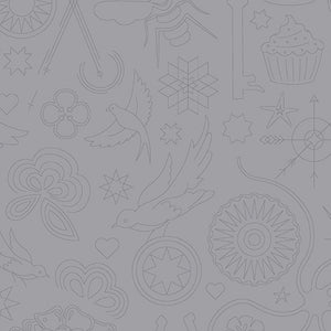 Sun Print 2020 Quilt Fabric - Embroidery in Cloud Gray - A-9256-C1