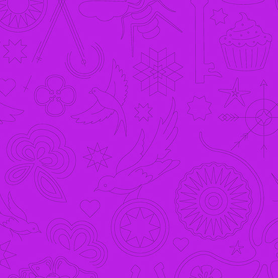Sun Print 2020 Quilt Fabric - Embroidery in Jam Purple - A-9256-P