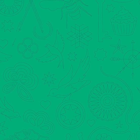 Sun Print 2020 Quilt Fabric - Embroidery in Turtle Green - A-9256-G