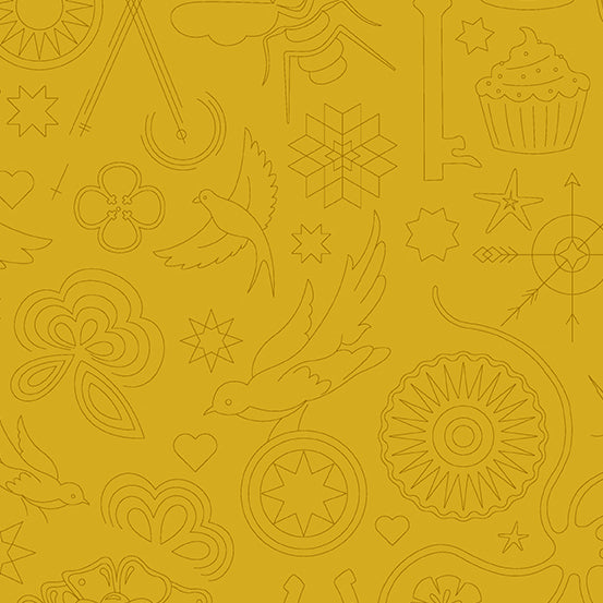 Sun Print 2020 Quilt Fabric - Embroidery in Yarrow Gold - A-9256-Y