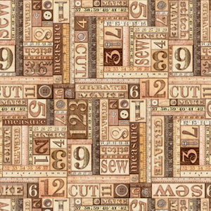 Tailor Made Quilt Fabric - Numbers Patch in Brown - 1649-27340-A