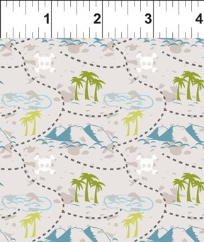 Teddy's Great Adventure Quilting Fabric - Teddy's Treasure Hunt Map in Gray - 7TGA-1