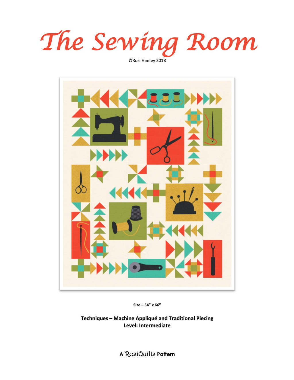 Digital Download: The Sewing Room Quilt Pattern by Rosi Hanley - RH-TSR-D