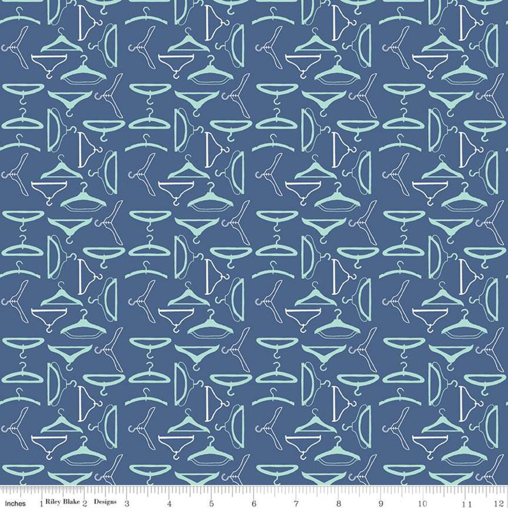 Vintage Happy 2 Quilt Fabric by Lori Holt - Hangers in Denim Blue - C9142-DENIM