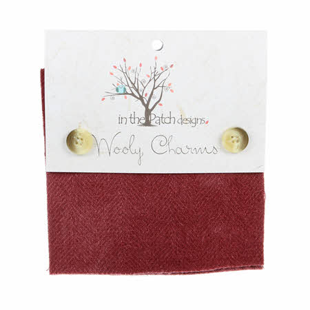 "Wooly Charms - Cranberry Red - set of five 5"" wool squares - WC5701"