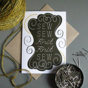 Sew Sew Knit Knit Individual Greeting Card - TF301