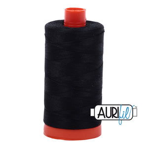 Aurifil 50 wt cotton thread, 1300m, Black (2692)