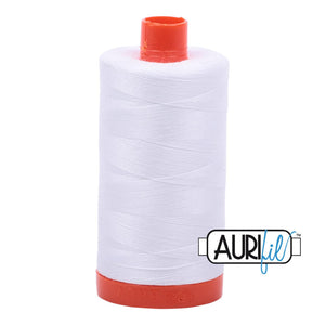 Aurifil 50 wt cotton thread, 1300m, White (2024)