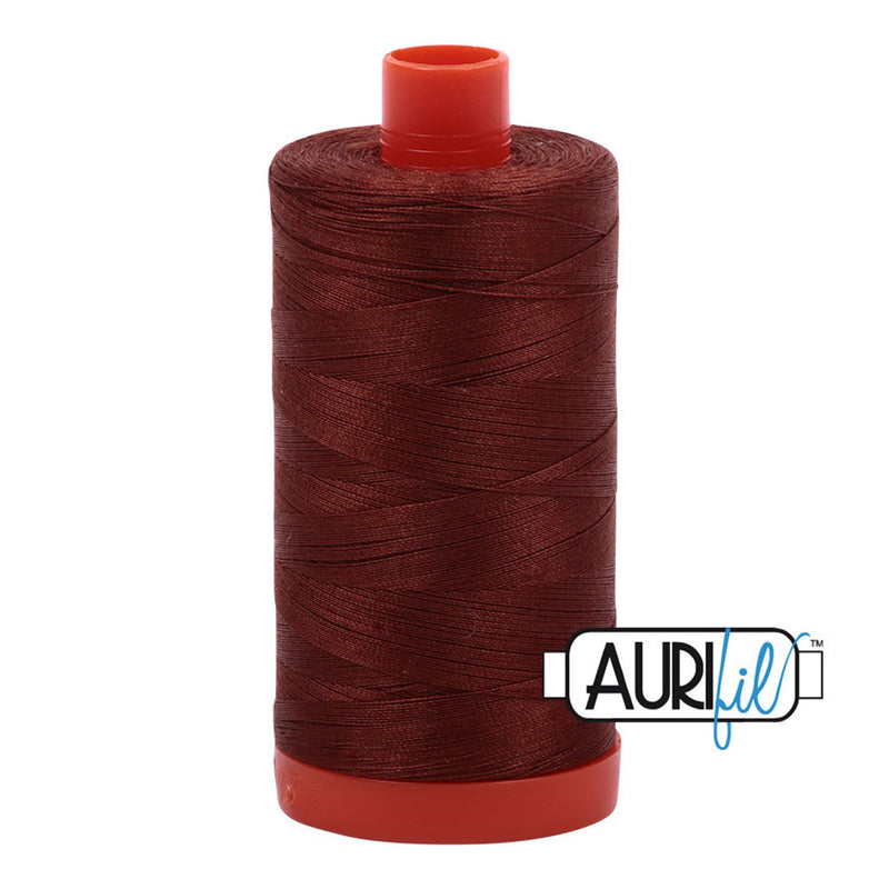 Aurifil 50 wt cotton thread, 1300m, Copper Brown (4012)