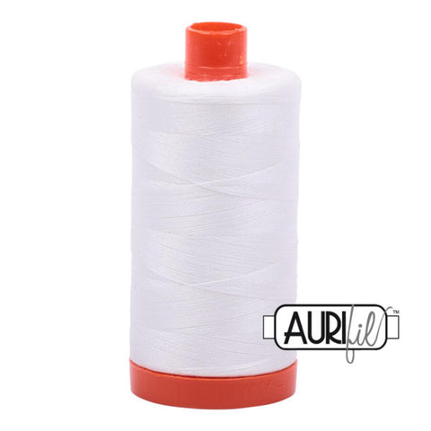 Aurifil 50 wt cotton thread, 1300m, Natural White (2021)