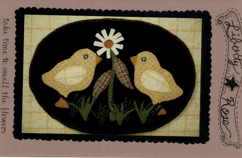 Take Time to Smell the Flowers Wool Applique Pattern - LR-TIM