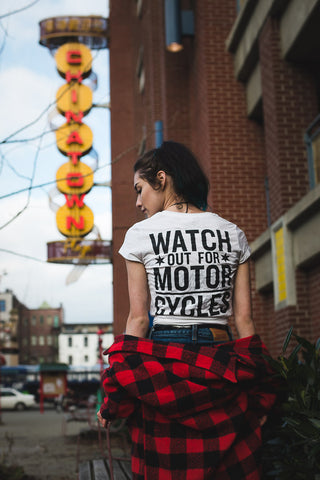 Watch out for Motorcycles, The Shop Vancouver T shirt