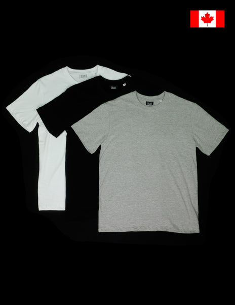 The Shop Vancouver Organic Cotton T shirt 3 pack White/Grey/Black