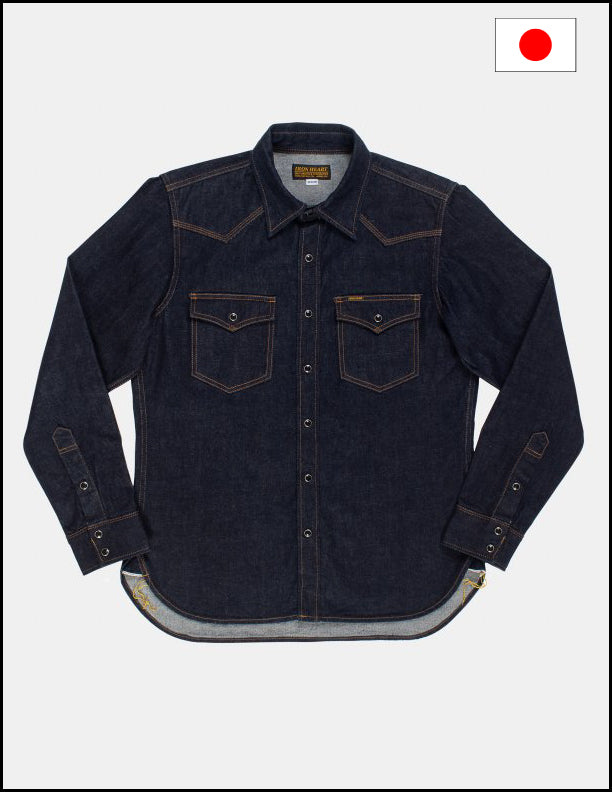 Iron Heart IHSH-33 Indigo 12oz Selvedge denim western shirt