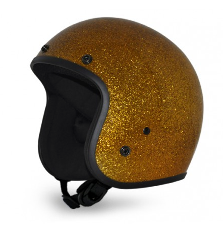 Classic Super Low Profile 3/4 Helmet Gold Metal Flake.