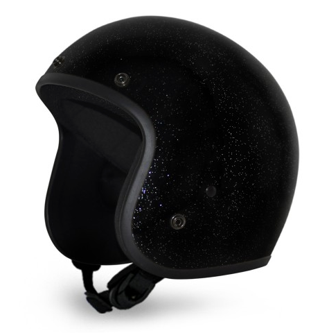 Classic Super Low Profile 3/4 Helmet Black Metal Flake