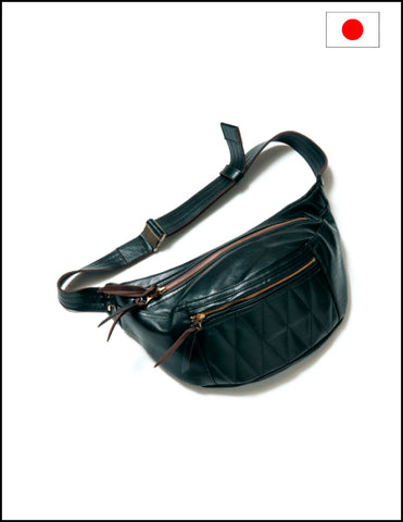 Y'2 Leather Horse Hide Waist Bag BG-09 Black