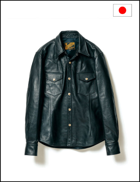 Y'2 Leather SS-13 Street Oil Western Shirt Black