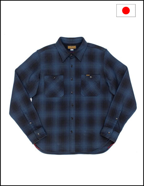 Iron Heart IHSH-231 Ultra Heavy Flannel Tartan Check Western Shirt - Blue