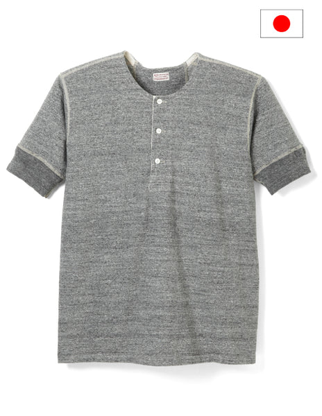Stevenson Overall Co. Heather Gray Loop Wheel Short Sleeve Henley