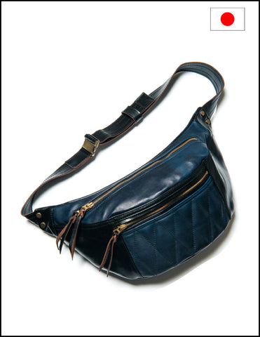 Y'2 Leather Horse Hide Waist Bag BG-09 Black Indigo
