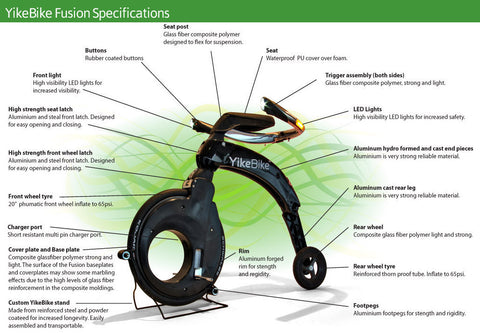 YikeBike Fusion Black with Green Rim