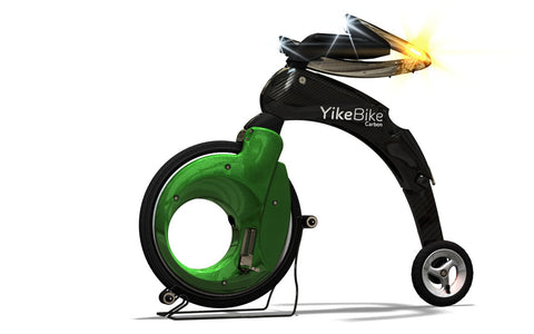 YikeBike Synergy 305 with White Rims and Green Covers