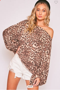 Lacy Leopard Off The Shoulder Top