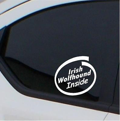 2x Irish Wolfhound stickers Inside car decal - Art & Text