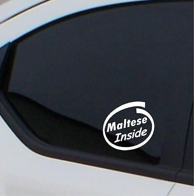 2x Maltese  Inside stickers car decal - Art & Text