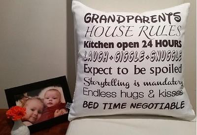 Grandparents rule pillow cover very soft material washable FILLING NOT INCLUDED - Art & Text
