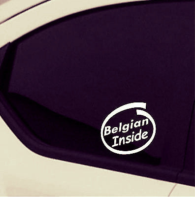 2 x Belgian Inside car stickers car decal - Art & Text