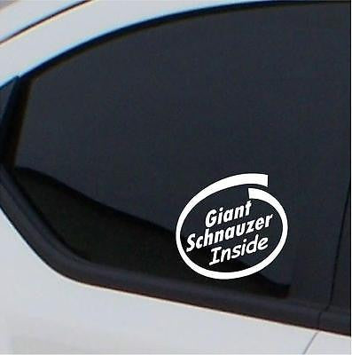 2x Giant Schnauzer  stickers Inside car decal - Art & Text