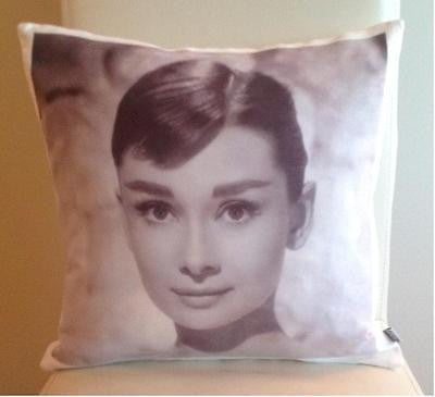 Audrey Hepburn pillow cover very soft material washable FILLING NOT INCLUDED - Art & Text