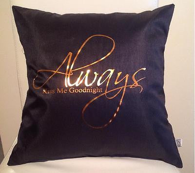 Always kiss me goodnight  Pillow cover with bronze letters Valentines gift - Art & Text
