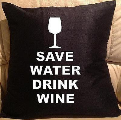 Save Water pillow cover washable Polyester and Square FILLING NOT INCLUDED - Art & Text