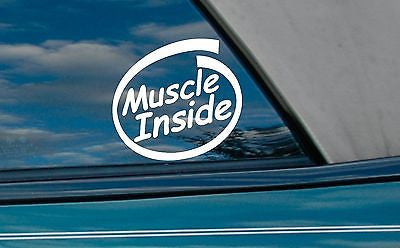 2x Muscle inside die-cut vinyl stickers - fitness body builing decals - Art & Text
