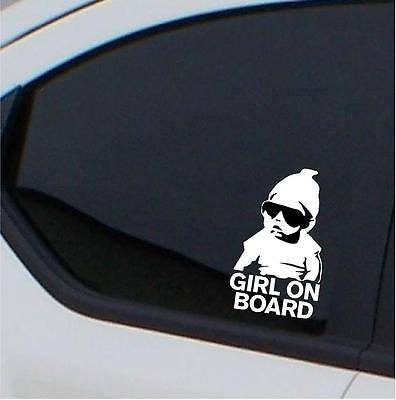 2x  Girl on board stickers - carlos hangover baby car decal - Art & Text