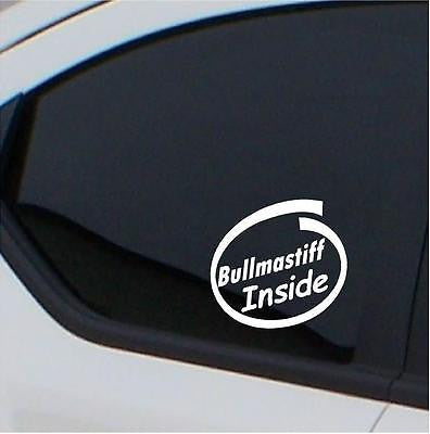 2x Bullmastiff  Inside  stickers car decal - Art & Text
