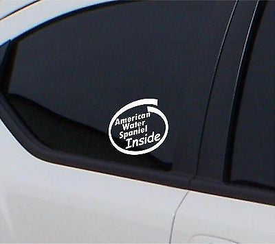 American Water Spaniel inside 2 x  sticker car decal - Art & Text